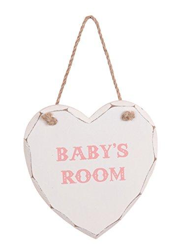 Shabby & Chic Hanging Heart Door Plaque - Pink Baby's Room