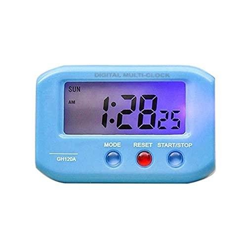 WGFGXQ Reloj de Escritorio electrónico portátil Reloj Despertador electrónico Digital Pantalla LCD Calendario de Tiempo de Datos Dormitorio Reloj de Escritorio pequeño Reloj Despertador Ajustable,