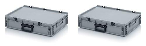 2x Eurobehälter 60 x 40 x 13,5 mit Scharnierdeckel und Griff (Tragegriff, Klappgriff) inkl. gratis Zollstock, 2er Set