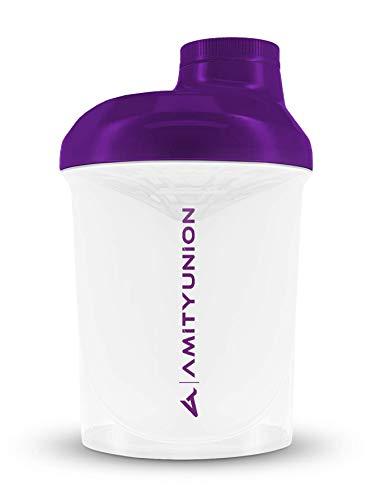 Frauen Protein Shaker 400 ml Weiss Lila Deluxe - ORIGINAL AMITYUNION - Eiweiß Shaker auslaufsicher - BPA frei mit Sieb, Skala für Cremige Whey Shakes, Gym Fitness Becher für Isolate, BCAA Pulver