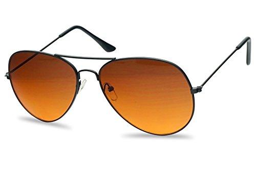 Classic Aviator Sunglasses Metal Frame Color Therapy Tinted Lens Eyeglasses (Black Frame | Orange (Blue Blockers))