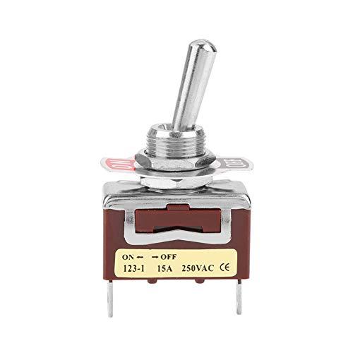 LANTRO JS - Interruptor de palanca momentáneo de encendido y apagado de 12 mm, interruptor basculante de interruptor de palanca de 15 A 250 V, 2 pines y 2 posiciones