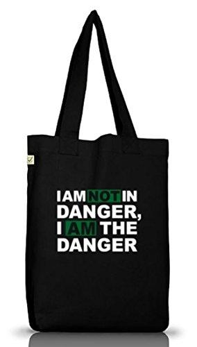 Shirtstreet24, I AM NOT IN DANGER, Jutebeutel Stoff Tasche Earth Positive, Größe: onesize,Black
