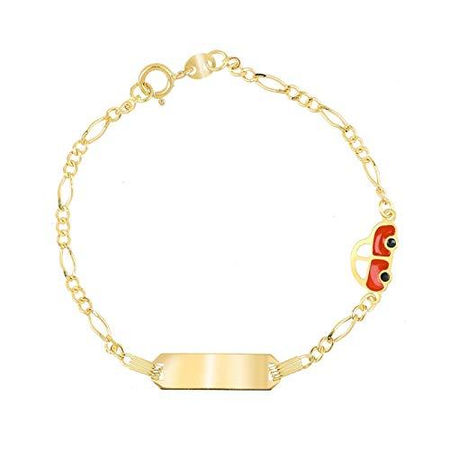 Facco - Pulsera infantil de oro amarillo 750 con placa y máquina esmaltada roja de 14 cm | Pulsera infantil de alta calidad | Certificado de garantía y autenticidad