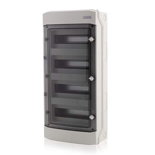 Sicherungskasten Feuchtraum-Verteiler Aufputz 4-reihig in Grau 48 TE IP65 mit transparenter Tür