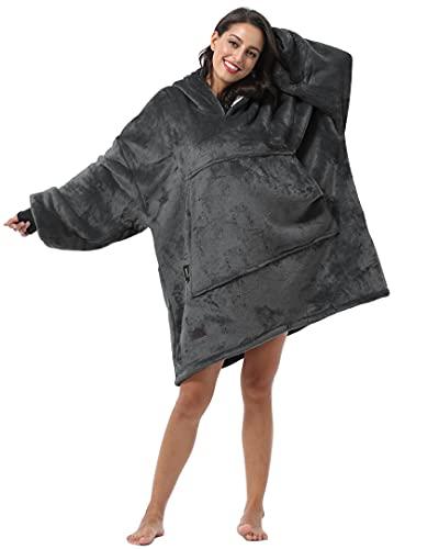 Oversized Hoodie Blanket Sweatshirt Comfortable Sherpa Giant Wearable Blankets Gift for Adults Men Women Teenagers Wife Girlfriend Grey