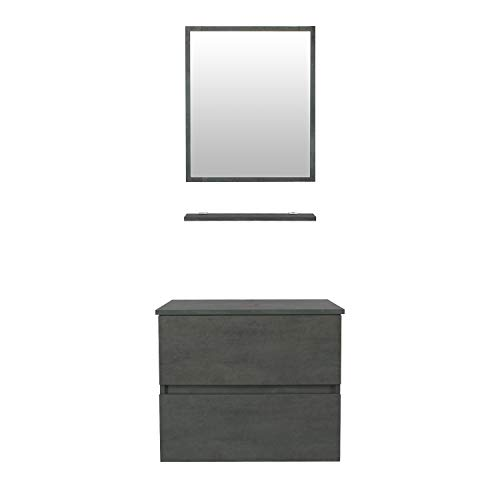 """eclife 24"""" Bathroom Vanity Cabinet Wall Mounted Concrete Grey Cabinet Two Drawers Pedestal Cabinet Vanity Set with Mirror (E02CC)"""
