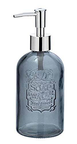 WENKO Dosatoredisapone Vetro grigio rotondo - Dispenser sapone liquido, dispenser detersivo piatti Capacità: 0.4 l, Vetro, 8.5 x 19 x 7.5 cm, Grigio