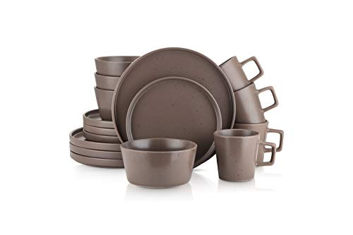 Stone Lain Coupe Dinnerware Set, Service For 4, Matte Brown Speckled