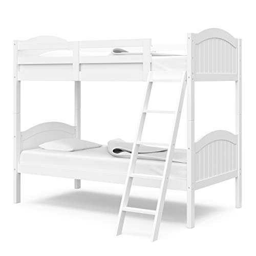 Thomasville Kids Lenox Solid Hardwood Twin Bunk Bed (White) - with Ladder and Full-Length Safety...