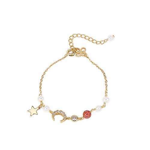 JUSTDANMING Pulsera de Moda Pulsera de Cristal Natural Femenino Cristal de Fresas pequeñas Pinchos Pequeños Peluques de Pearl Stars Luna Chicas (Color : Meteorhorn Bracelet)