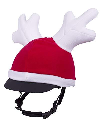 netproshop Winter-Weihnachtsmütze für Reithelm mit Rentiergeweih Rot One Size