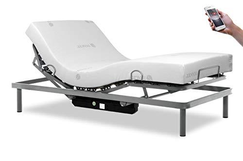 Gerialife® Pack Cama articulada Reforzada 5 Planos con colchón viscoelástico Tencel | Fabricado en España (90x190, Mando inalámbrico)