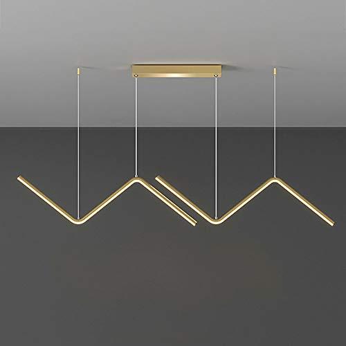 Araña LED Regulable Lámpara Colgante Sencillez Moderno Dorado, Luces Comedor Ajustable Altura, Luz Mesa de Comedor con Mando a Distancia, Lámpara de Salón Fabricada en Metal y Gel de Sílice, 26W L90cm