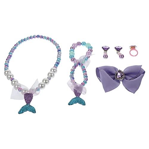 WINOMO Juego de joyas de sirena, pulsera decorativa para niños, collar y pendientes para niños, accesorios de traje de baño, regalo para Año Nuevo, Navidad, Día de los niños, adorno creativo y chic