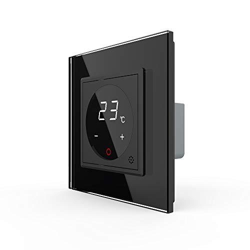 LIVOLO Raumthermostat Thermostat mit Glas Rahmen für Heizung Fußbodenheizung schwarz VL-C7-01TM-12-A