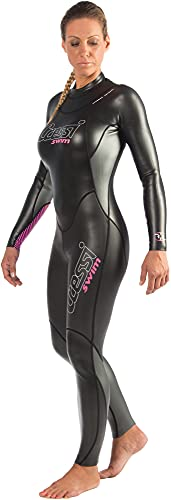Cressi Triton Lady All In One Swim Wetsuit 1.5mm Traje de Natación de una Pieza en Neopreno Glid Skin de 1.5 mm, Women's, Negro/Rosa, L