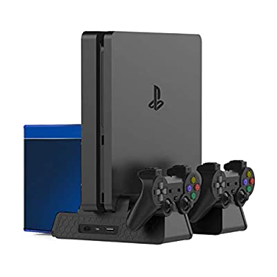 BPS Vertical Stand for PlayStation PS4/PS4 Slim/PS4 Pro,PS4 Series Vertical Stand with Cooling Fan and Dual Controllers Charging Station for PS4/PS4 Slim/PS4 Pro?3 Built-in Cooling Fans