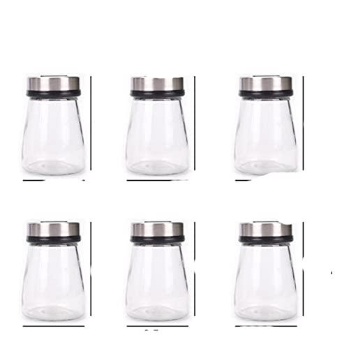3pcs / 6pcs / set Caja de condimentos frasco de sal a prueba de agua caja de condimentos sellada de vidrio de cocina botella de condimentos frasco de condimentos hogar-6 piezas 180ml