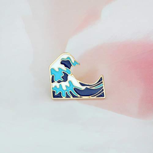 BLINGBRY blauwe golven broche emaille gesp cartoonmetaal broche voor mantel jas zak pin badge zee-sieraden cadeau voor kinderen meisjes jongens