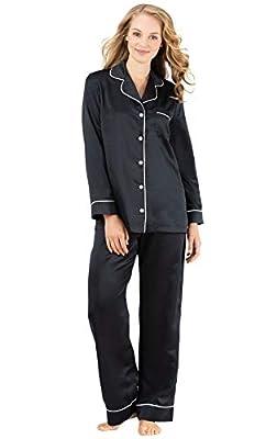PajamaGram Satin Pajamas for Women - Luxury Sleepwear for Women, Black, L, 12-14 by PajamaGram