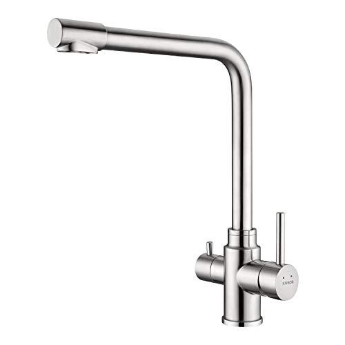 KAIBOR - Grifo de cocina de 3 vías (giratorio 360°, acero inoxidable, grifo mezclador 3 en 1, para filtro de agua, grifo de agua potable con 2 palancas)