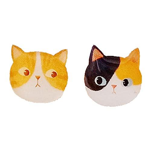 Gato siamés Tabby pequeño Gato Amarillo 925 Pendientes de Plata Blanca sin Pinzas para los oídos Perforados Pendientes termorretráctiles Hechos a Mano-A