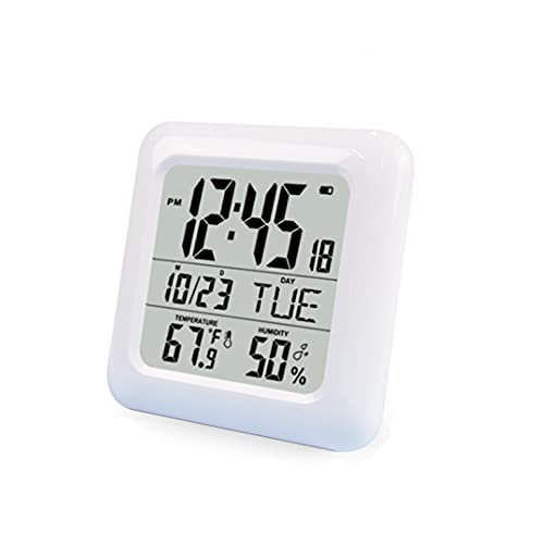 N / B Reloj de Ducha Impermeable, Reloj de baño, montado en la Pared, ventosas, Mesa de pie, para visualización de Tiempo, Temperatura y Humedad Interior