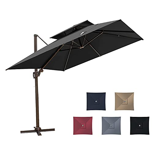 Pellebant 10X10 Ft Outdoor Square Cantilever Umbrella with Double Top, Patio Offset Hanging Umbrella with Crank Lift, Cross Base, 500h Fade-safe Canopy, 360 Degree Rotating, Black