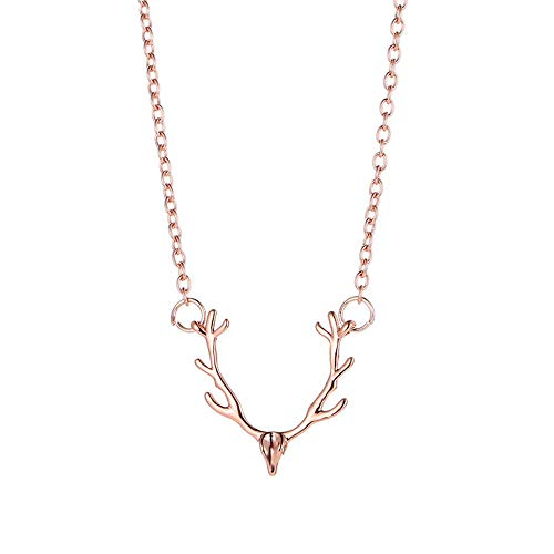 Ningz0l Halsketting voor dames, legering, modieus, klein gewei eland, hangende sleutelbeen, ketting, vrouwelijk sieraad roze goud