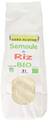 NATURELLEMENT SANS GLUTEN Semoule de Riz Bio 400 g - Lot de 6