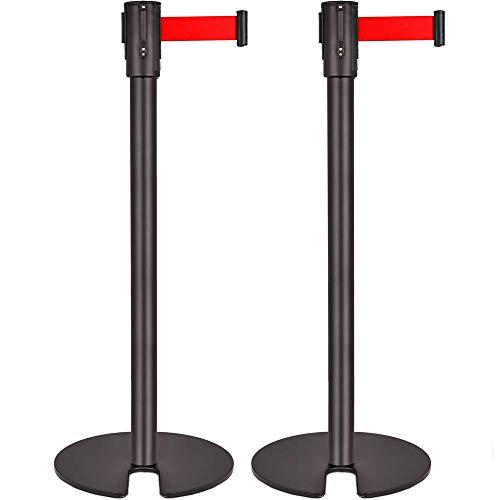 PrimeMatik - Poste Separador 2 Unidades Negro con Cinta Extensible roja de 3 Metros 350 x 50 x 910 mm