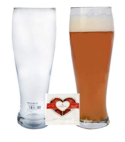 Arcoroc 6er Set Weizenbiergläser oder | Bierglas geeicht bei 0.5L | Weizenglas | Weißbier-Glas | Gastro Gläser + 1x 4er Niederegger