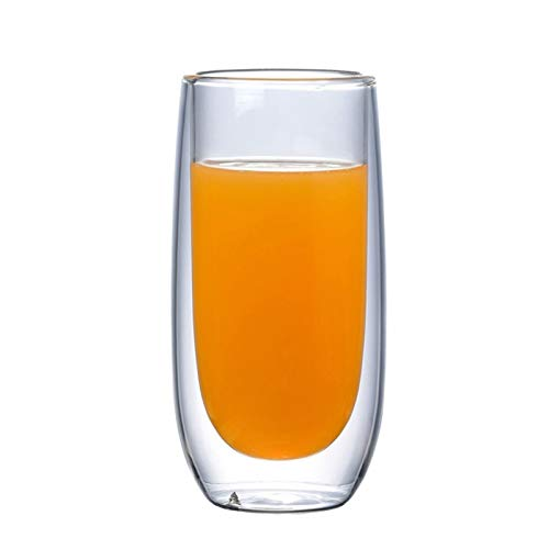 YCSX Wassergläser 6PCS Double Wall Insulated Glass Kaffeetassen, Glas Kaffeetasse, Tee-Schalen, Glas Cups, Latte Tassen, Getränke Gläser, Klar Weingläser, hitzebeständig Stemless Sektgläser