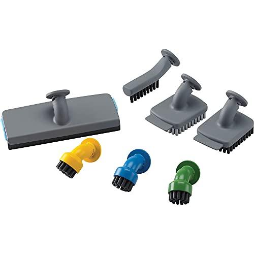 BLACK+DECKER FSMH21A-XJ Set di Accessori per Pulizia Casa 3 spazzoline rotonde, 2 con raschietto, 1 accessorio per vetri e 1 per fughe, compatibili con Sistemi di Pulizia Black+Decker