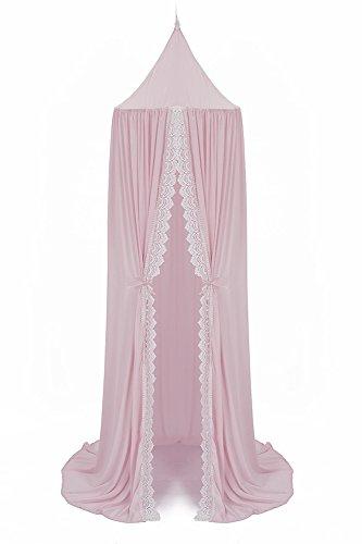 LAMEIDA - Mosquitera de gasa para cama de princesa con encaje para niñas y niños, decoración de guardería rosa rosa