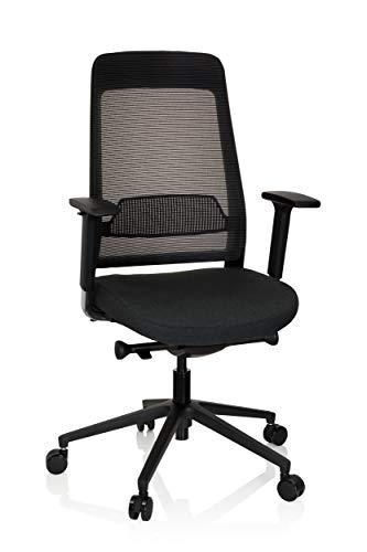 hjh OFFICE 790000 Profi Bürostuhl CHIARO T1 Stoff Schwarz ergonomischer Drehstuhl, Sitzhöhe & -Tiefe verstellbar, Netzrücken