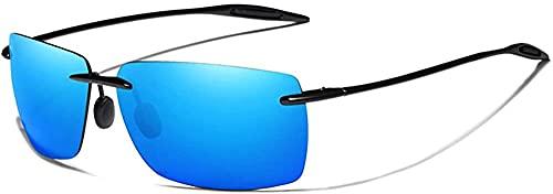 Gafas de sol sin montura para hombre sin marco cuadrado gafas de sol para mujer espejo lente, Blue,