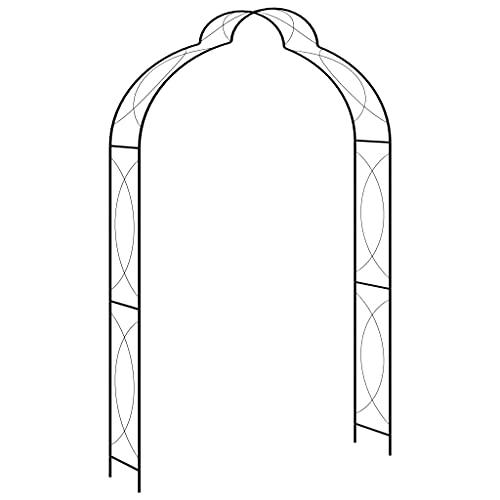 Negro Hierro con Revestimiento en Polvo Arco de jardín Hierro Negro 150x34x240 cm Casa y jardín Jardín Artículos de Exterior Estructuras de Exteriores Pérgolas, Arcos y enrejados de jardín