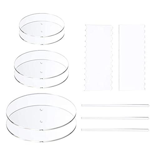 YANGQI yaoqijie Conjunto de Discos de Torta Redonda acrílico - Tarjetas de Base de círculo de Discos de Pastel con Orificio Central - 2 peines raspadores (4 Patrones) y Varilla de Clavija Lasting