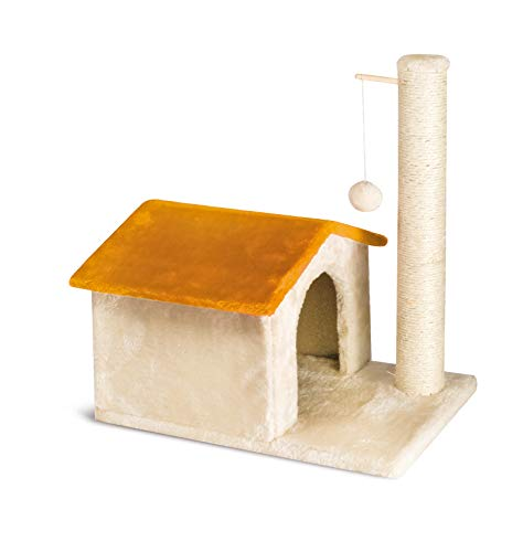 Cat&Rina Different Casetta, Tiragraffi e Casetta con Tronchetto, Per il Gatto, Dimensioni cm 48 x 30 x 52 h