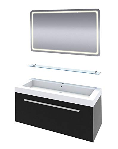 AcquaVapore Badmöbel Set City 100 V1 Esche schwarz Waschtisch 120 cm MIT LED Badspiegel BSP13, Antibeschlag und Glasablage