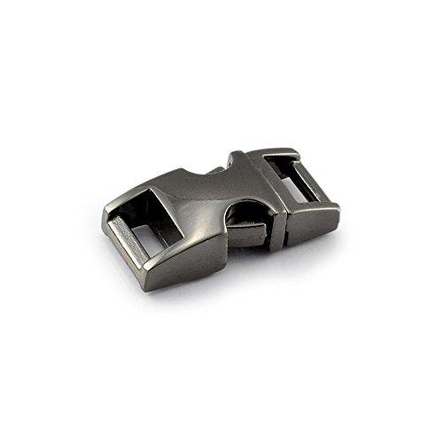 """Fermoir à clip en métal, idéal pour les paracordes (bracelet, collier pour chien, etc), boucle, attache à clipser, grandeur: S, 3/8"""", 33mm x 15mm, couleur: imitation titane, de la marque Ganzoo - lot de 3 fermoirs"""