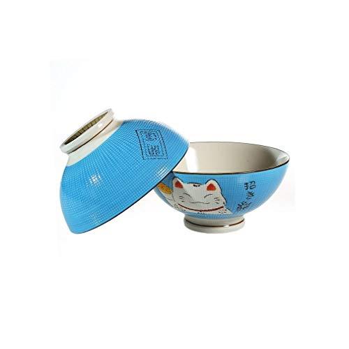 Lachineuse, Ciotola Di Noodle, Modello di gatto Maneki Neko, Blu, confezione da 2