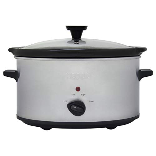 Nesco SC-6-25 6 Qt Oval Analog Slow Cooker, 6 Quart, Silver