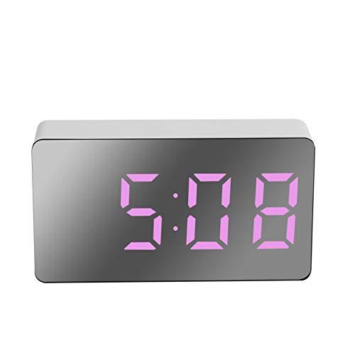 Crazyfly Elektrischer Wecker, multifunktionale LED-Digitaluhr, Spiegeloberfläche, Wecker, große weiße Ziffern, Display für Schlafzimmer, Nachttisch