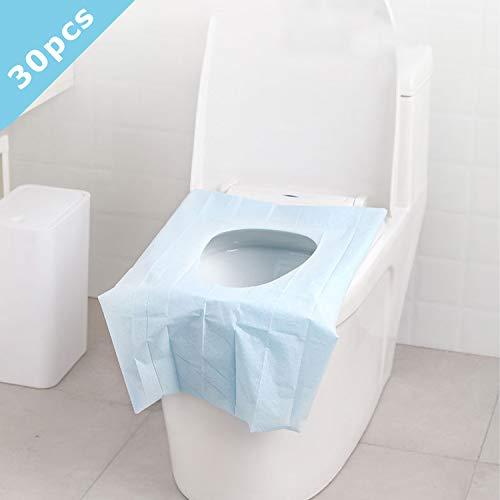 30 Stück Einweg WC Sitzbezug Toilettenauflage Toiletten Sitzbezug für Reisen Hotel Outdoor Toilettensitz Krankenhaus Erwachsener und Kinder