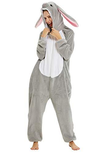 YAOMEI Erwachsene Unisex Overalls, Kostüm Tier Kostüm Anzug Strampler Nachthemd Pyjama Hoodie Nachtwäsche Cosplay Karton 3D Kigurumi Karneval Weihnachten Halloween (XL, B-Hase)