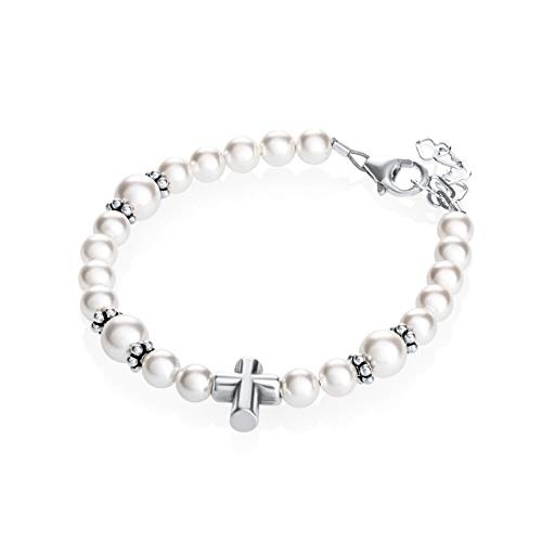 Keepsake Sterling Silver Cross Bead Baptism Child Bracelet with Swarovski White Simulated Pearls (BCBW_S+)