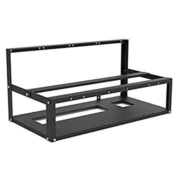 HELOIA Mining Rig Frame - 6/8 GPU Steel Open Air Miner Mining Computer Frame Rig Case for Crypto Coin Currency Bitcoin ETH ETC ZEC Mining Accessories Tools - Frame Only Fans & GPU is not Included